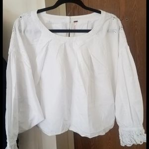 Free People White Pilgrim Embroidered Blouse